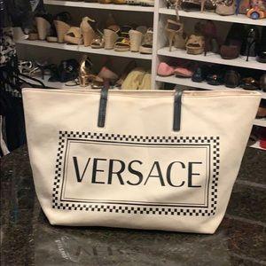 Versace  Open Top Canvas Logo Tote Off White Black